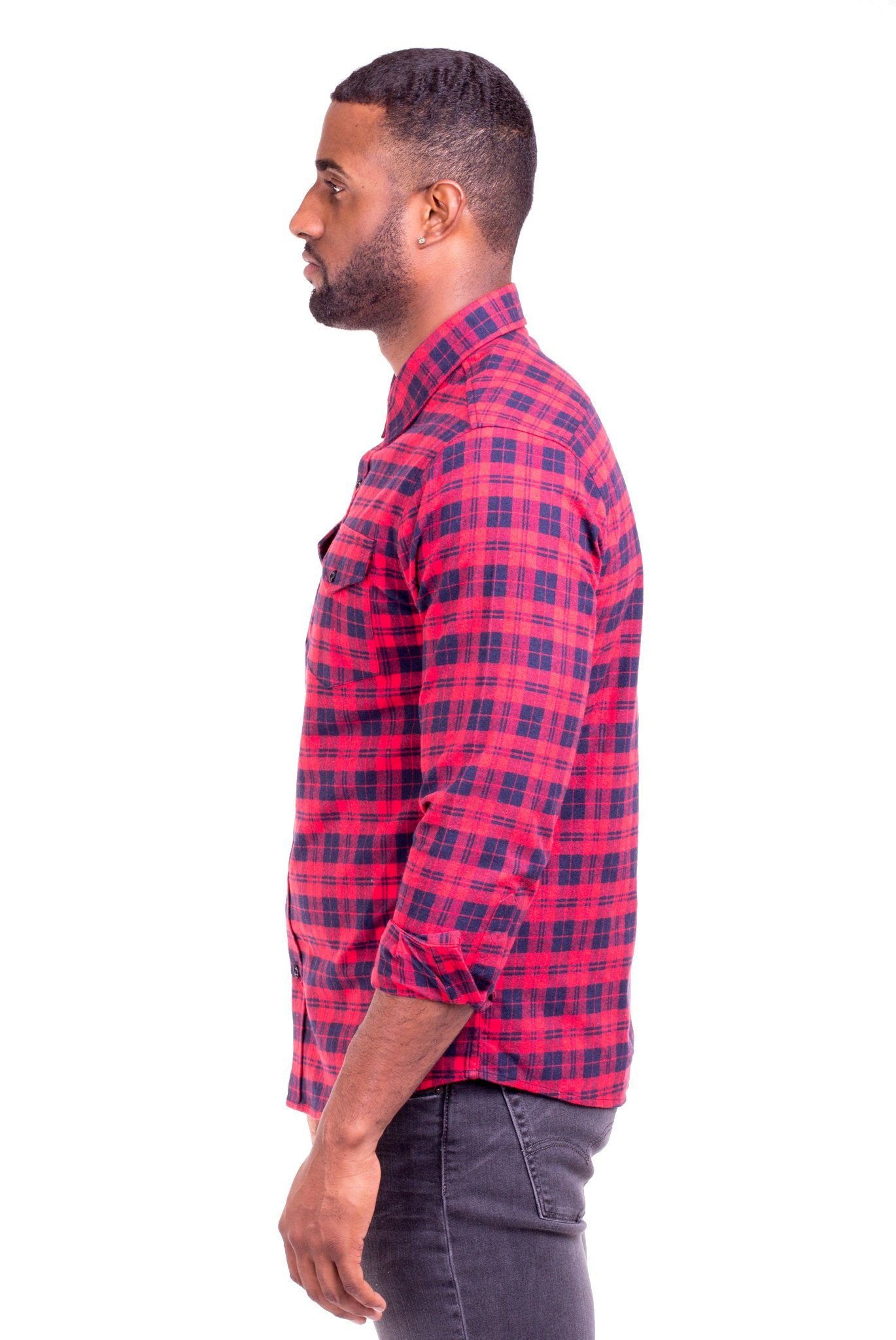 """JOHNNY"" RED/BLUE PLAID FLANNEL SHIRT"