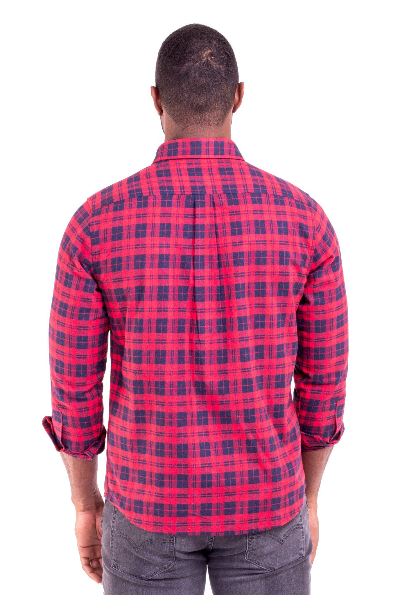 """JOHNNY"" RED/BLUE PLAID FLANNEL SHIRT - Poor Little Rich Boy"