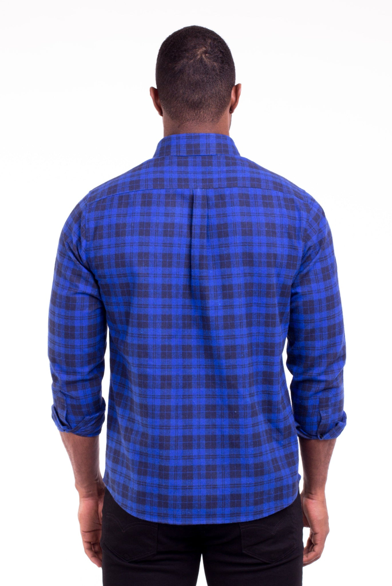 JOHNNY BLUE/BLACK PLAID FLANNEL SHIRT | Poor Little Rich Boy Clothing