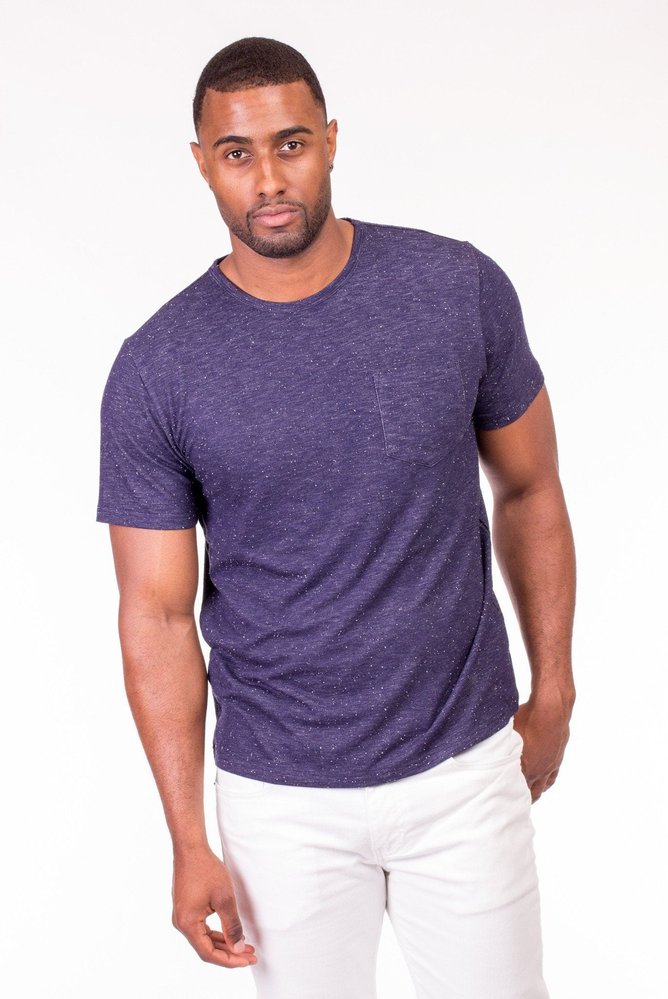 NAVY JACQUARD CREWNECK SHIRT | Poor Little Rich Boy Clothing
