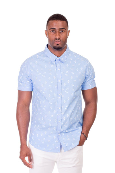 Poor Little Rich Boy Tyler Blue Print Short Sleeve Shirt