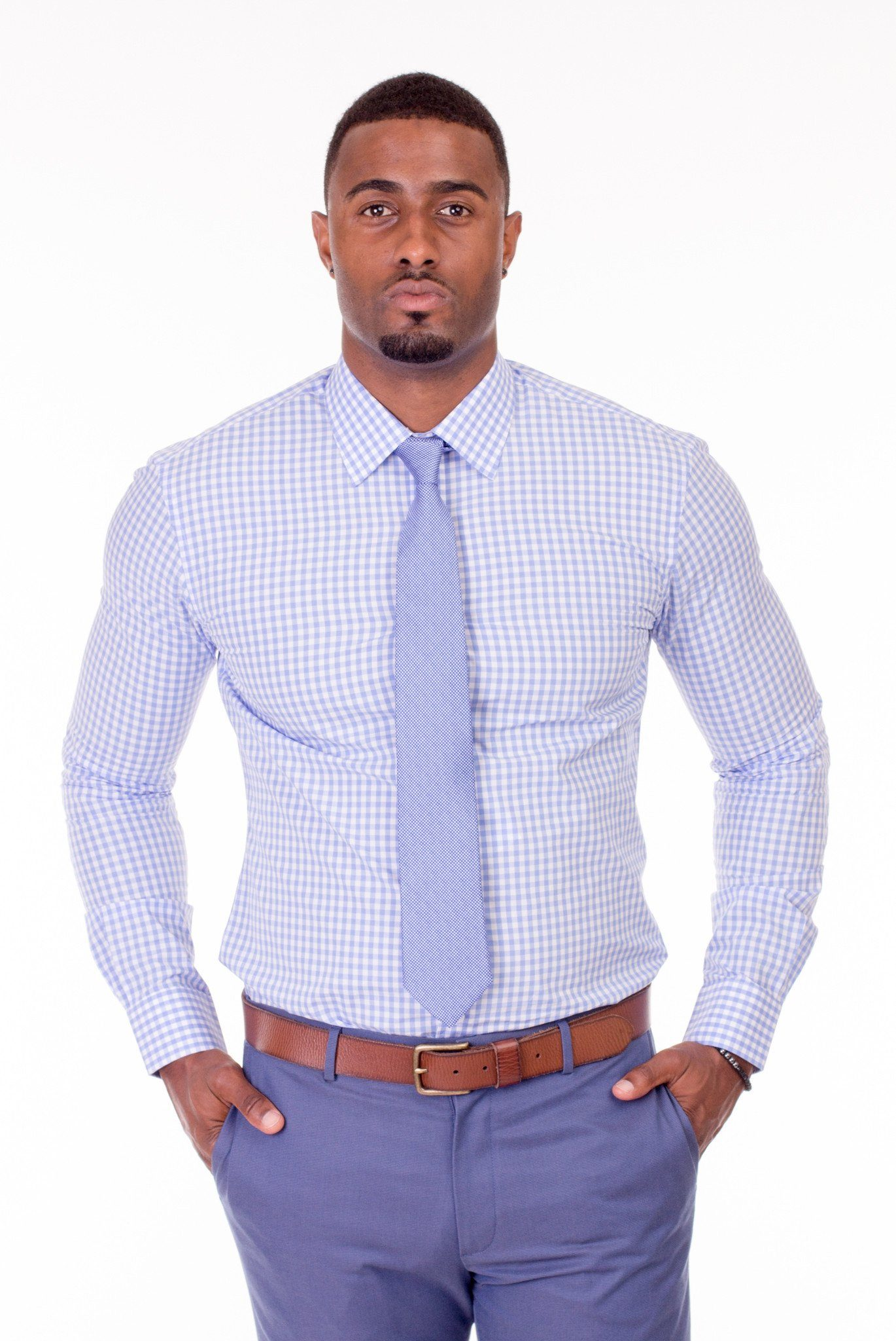 Monaco Light Blue Gingham Dress Shirt - Poor Little Rich Boy Custom Men's Dress Shirts - Plrbclothing.com