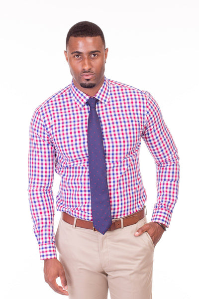 Charleston Red and Blue Gingham Dress Shirt - Poor Little Rich Boy Custom Men's Dress Shirts - Plrbclothing.com