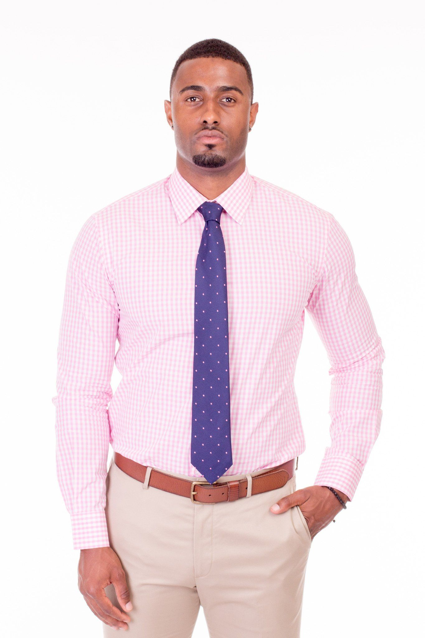 Pink and White Gingham Dress Shirt - Poor Little Rich Boy Custom Men's Dress Shirts - Plrbclothing.com