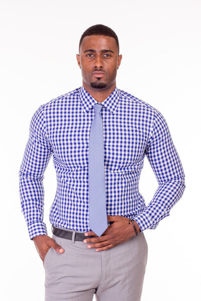 Thomas Blue and White Gingham Dress Shirt - Poor Little Rich Boy Custom Men's Dress Shirts - Plrbclothing.com
