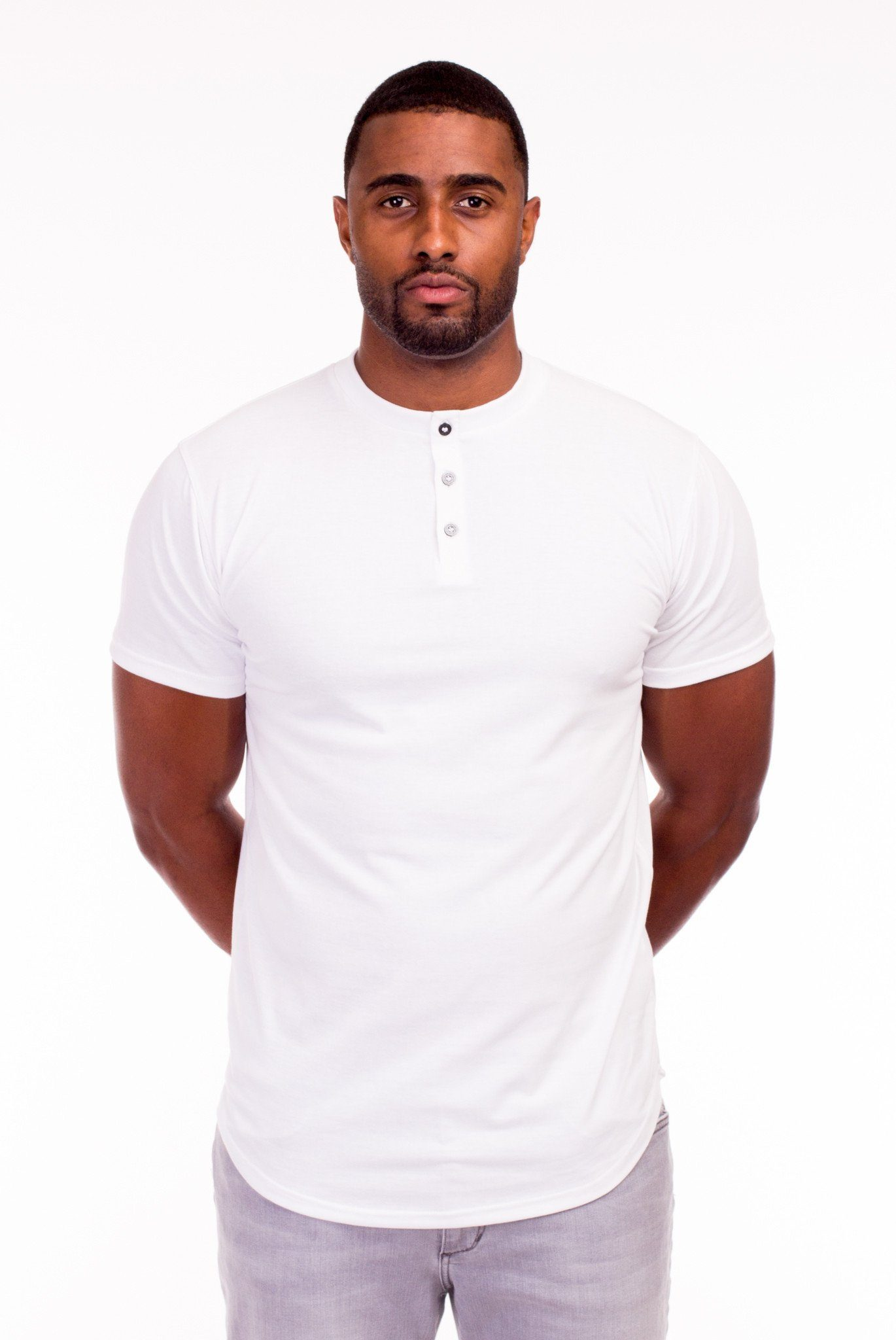 MODIFIED MANDARIN COLLAR T-SHIRT IN WHITE | Poor Little Rich Boy Clothing