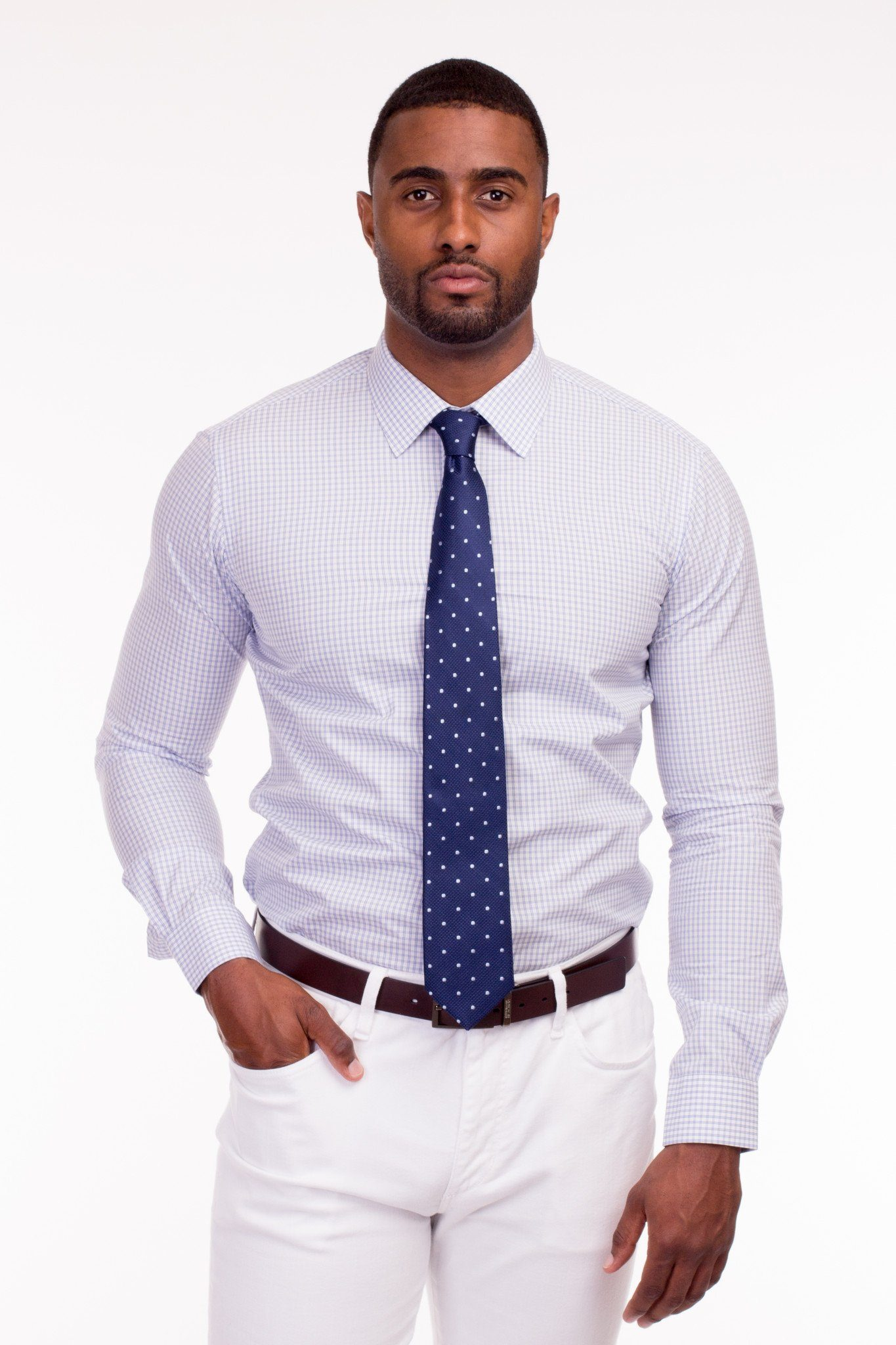 Light Blue Checked Dress Shirt - Poor Little Rich Boy Custom Men's Dress Shirts - Plrbclothing.com