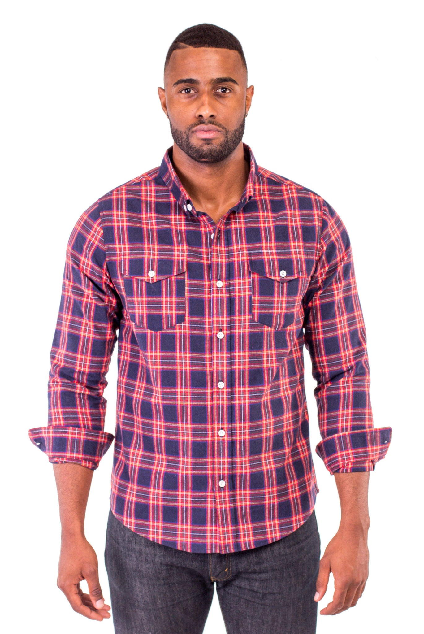 CHARLIE RED/BLUE PLAID SHIRT | Poor Little Rich Boy Clothing