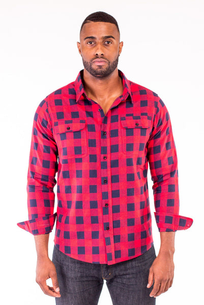 Poor Little Rich Boy Tommy Red/Blue Buffalo Plaid Shirt