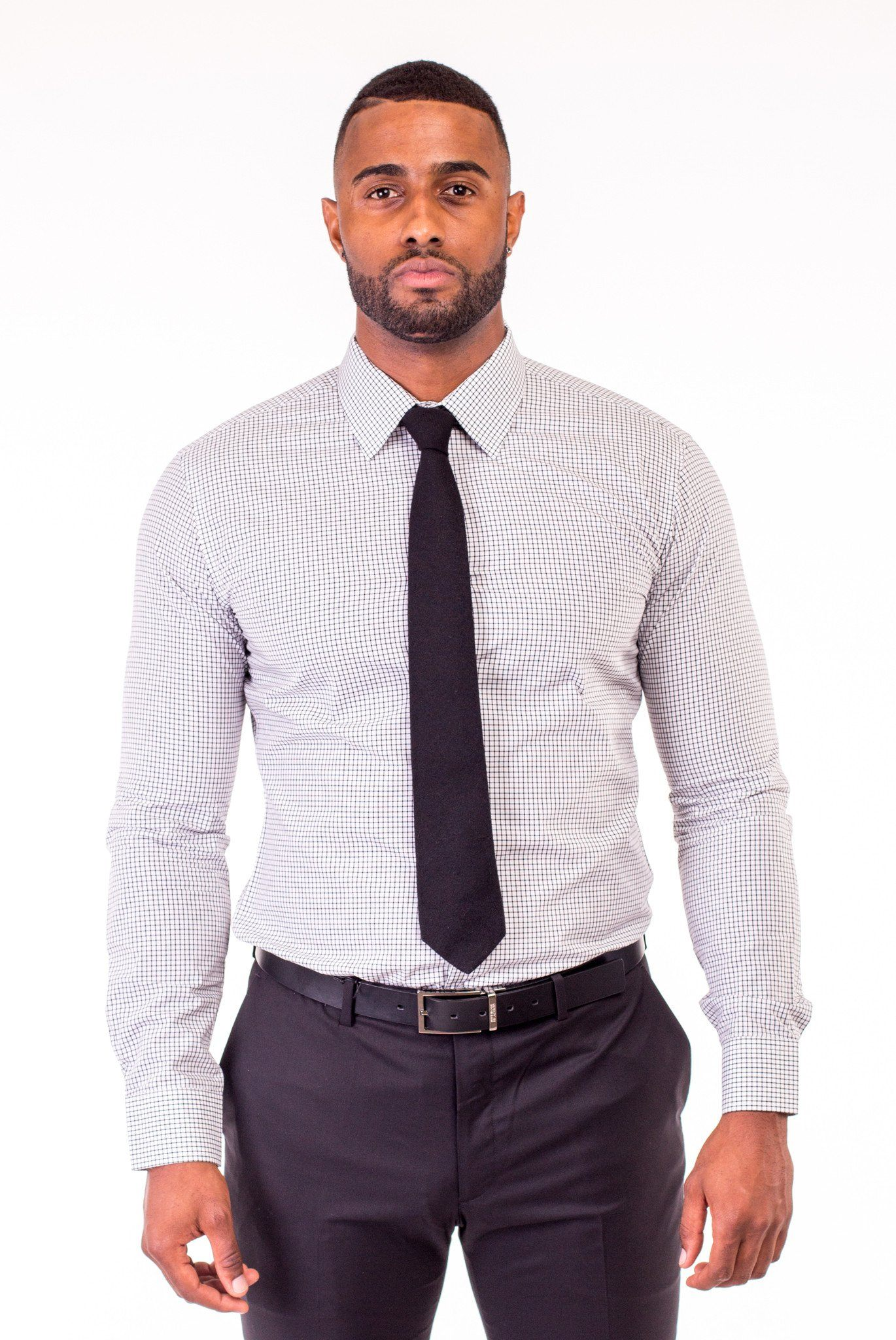 WHITE MINI-CHECKED DRESS SHIRT | Poor Little Rich Boy Clothing