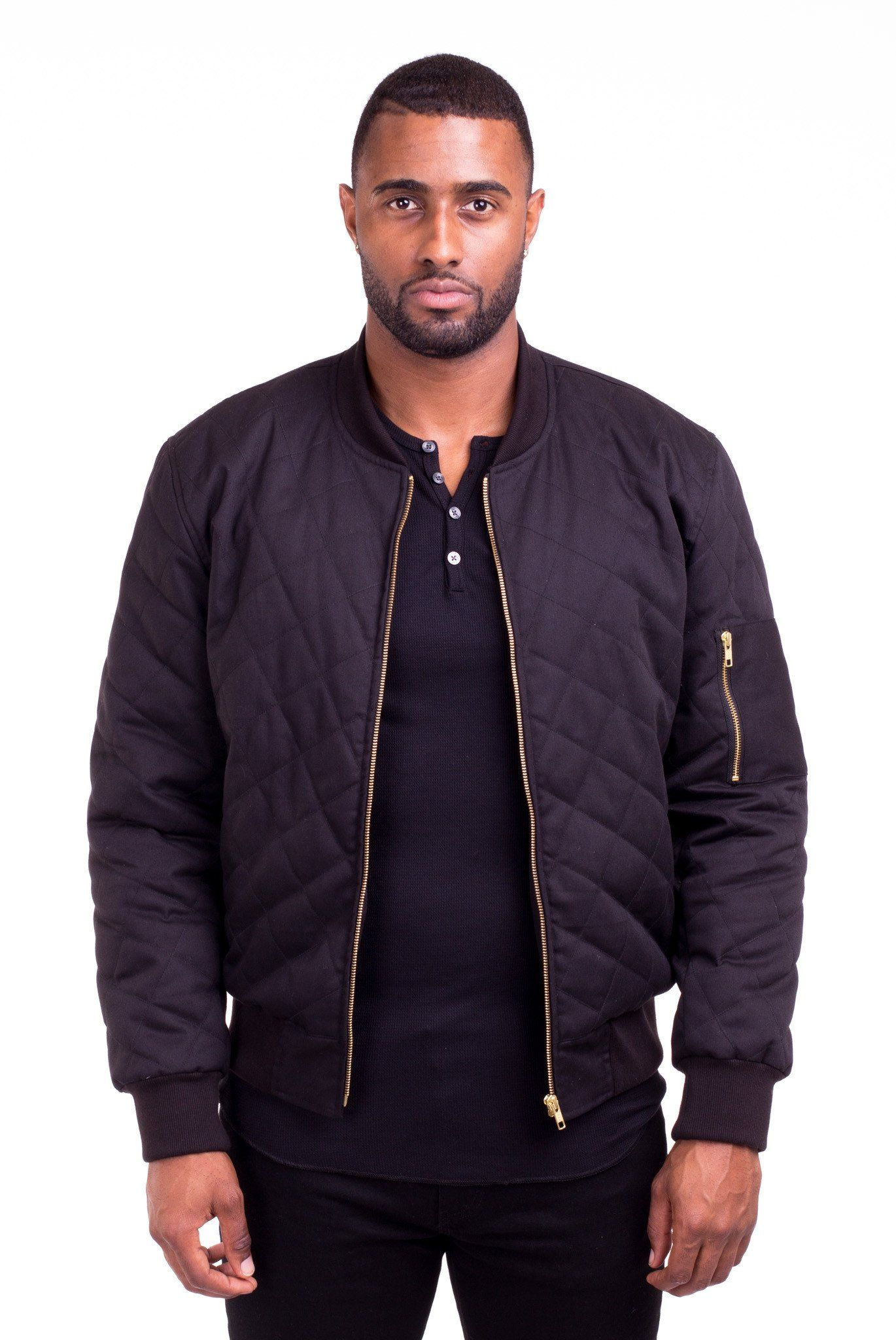 ACE BLACK QUILTED BOMBER JACKET | Poor Little Rich Boy Clothing