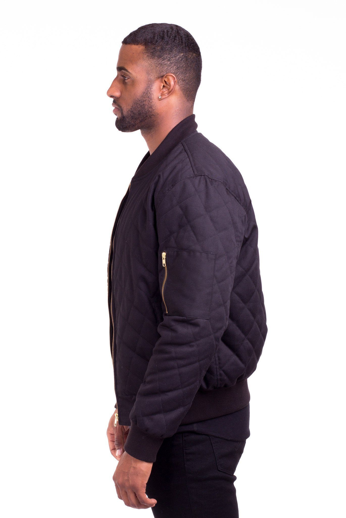 20f5c23de ACE BLACK QUILTED BOMBER JACKET | Poor Little Rich Boy Clothing