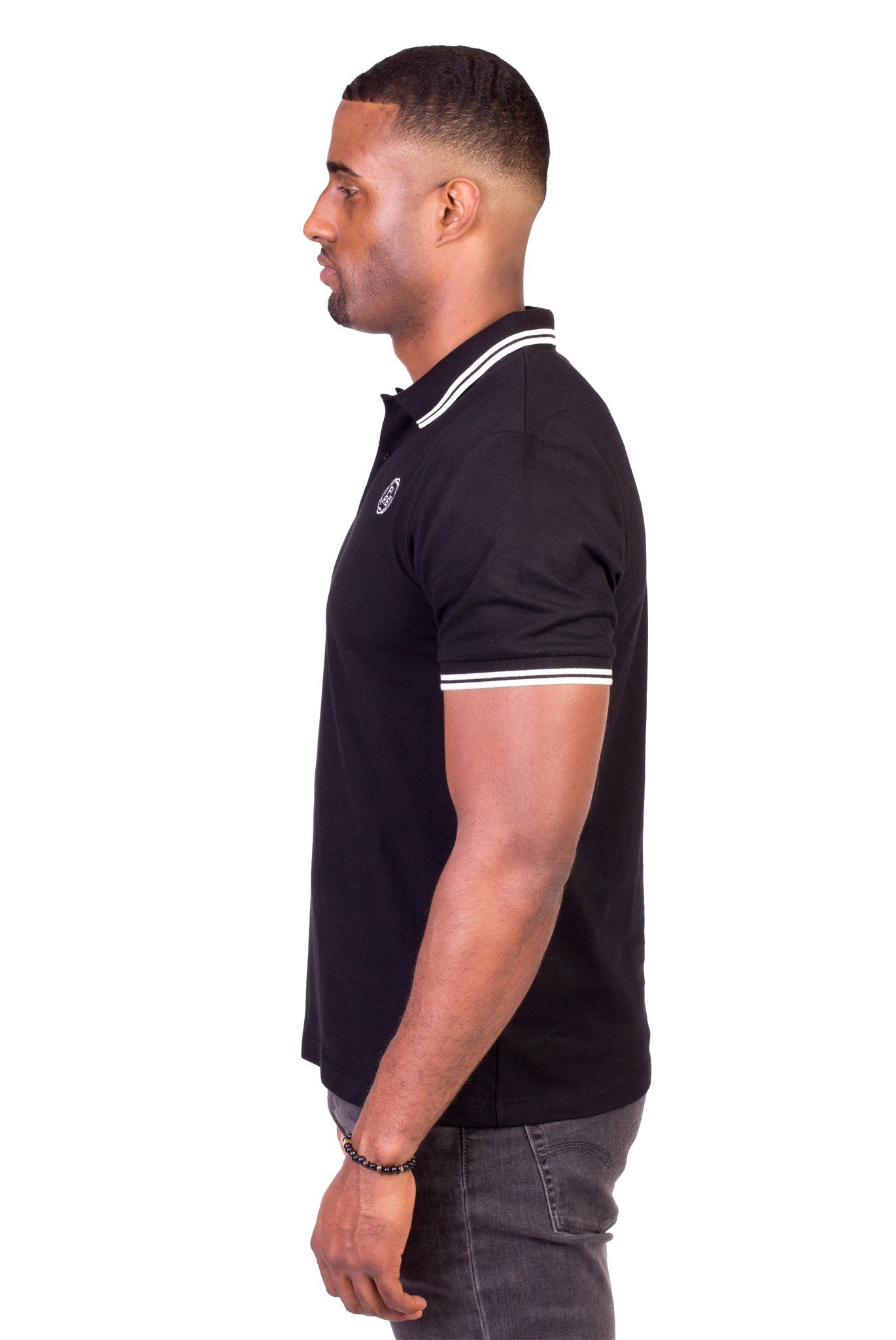 BELVEDERE POLO SHIRT IN BLACK | Poor Little Rich Boy Clothing