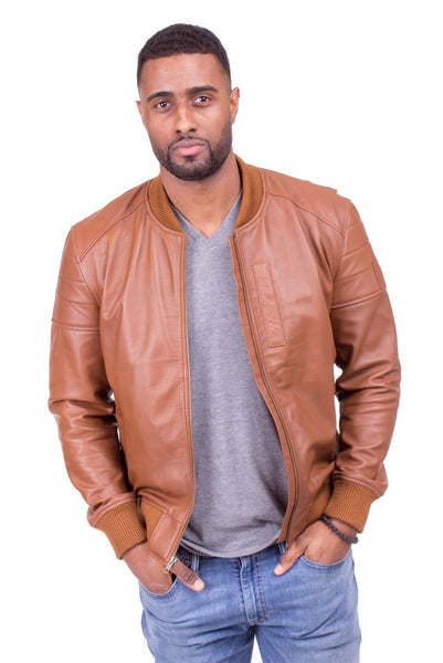 LAMBSKIN LEATHER RACER JACKET IN SALTED CARAMEL OR BLACK