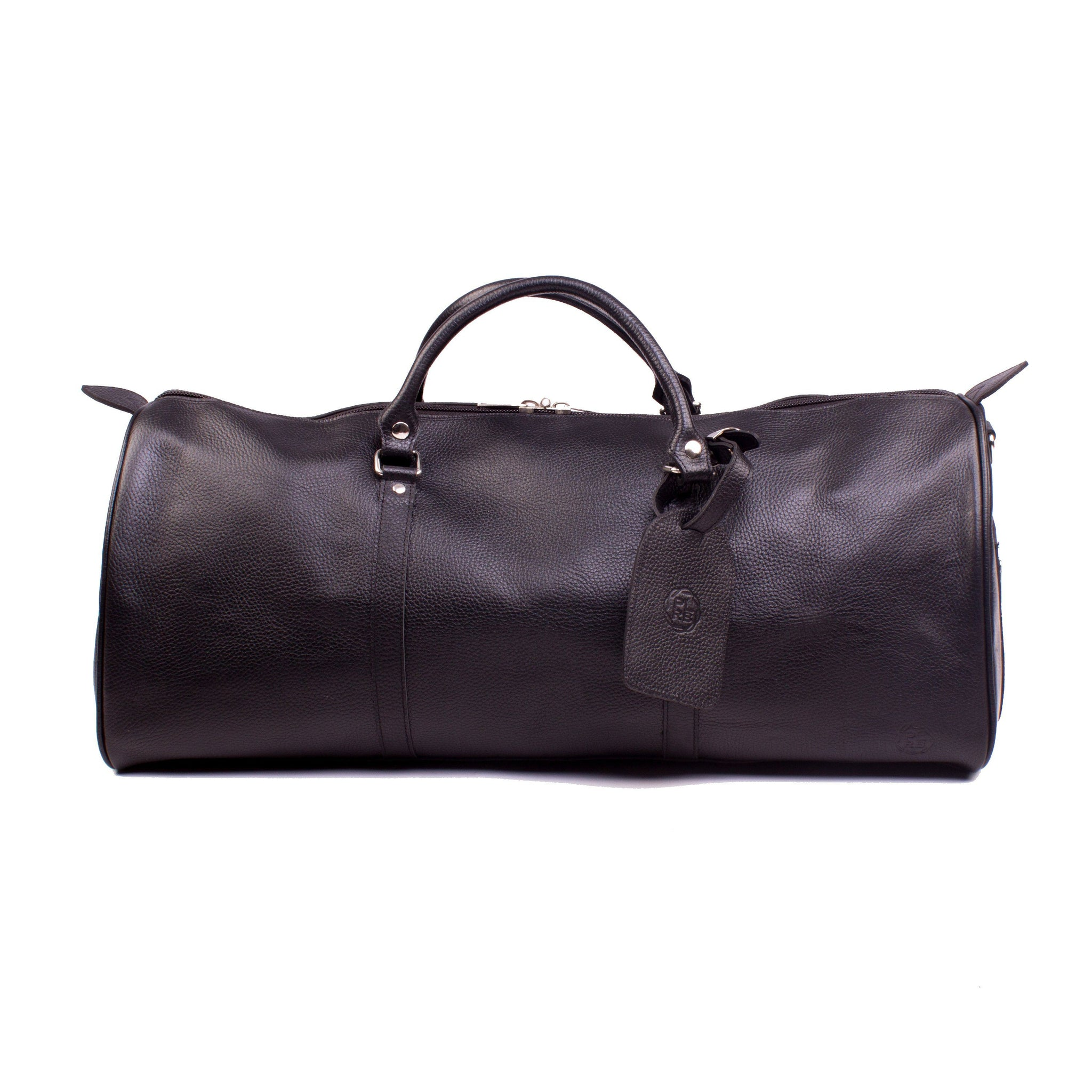 """ONE NIGHTER"" BLACK LEATHER DUFFLE BAG"