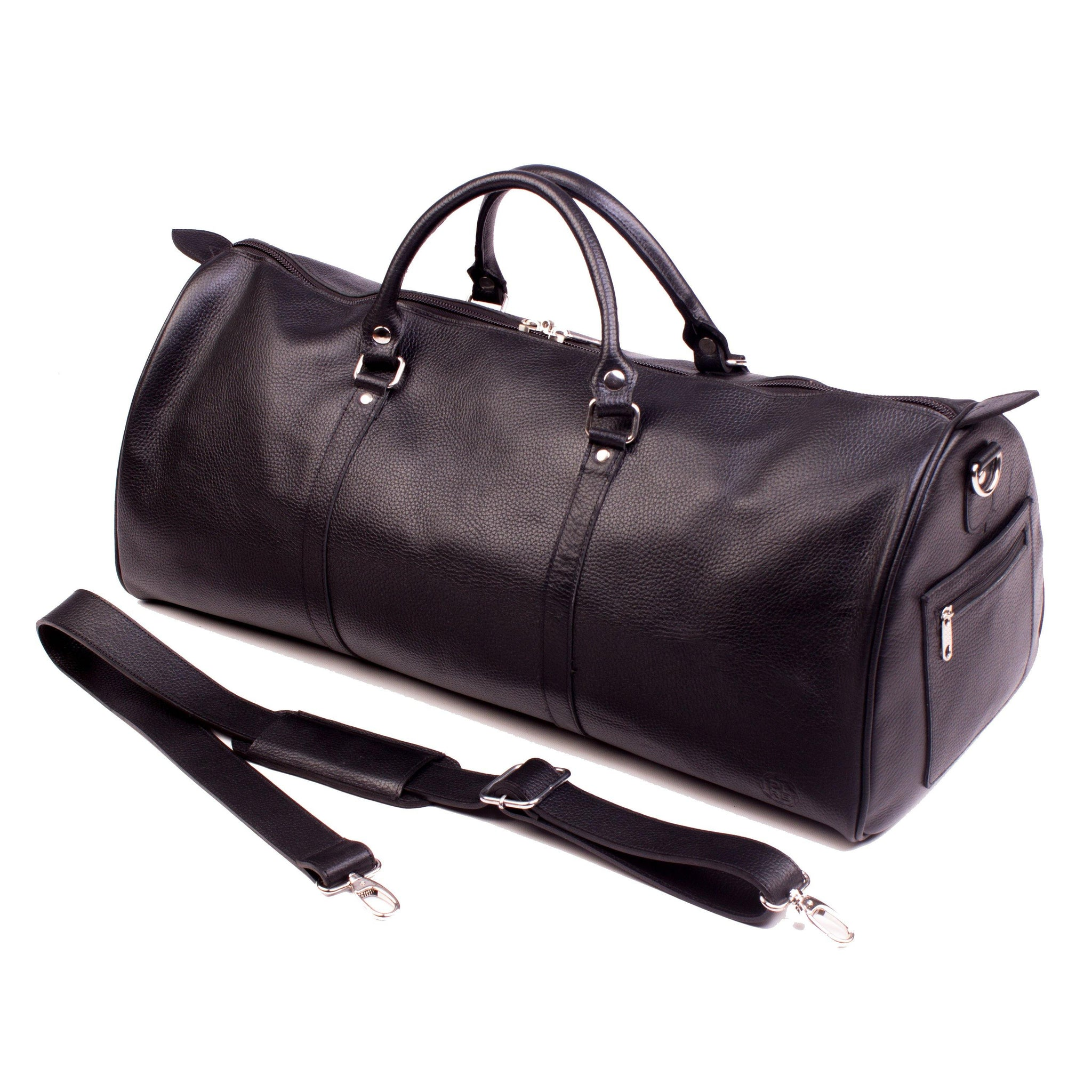 ONE NIGHTER BLACK LEATHER DUFFLE BAG | Poor Little Rich Boy Clothing