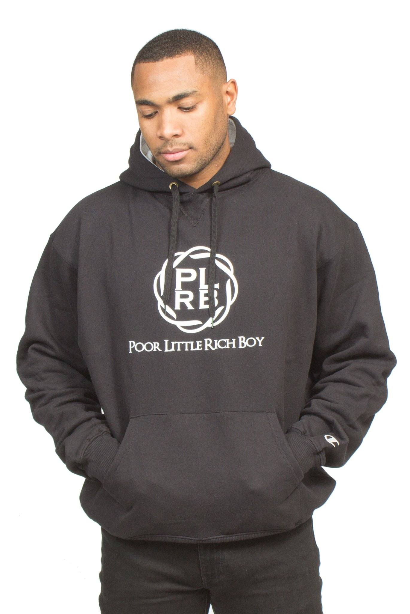 CHAMPION PLRB LOGO OVERSIZED HOODIE IN BLACK | Poor Little Rich Boy Clothing