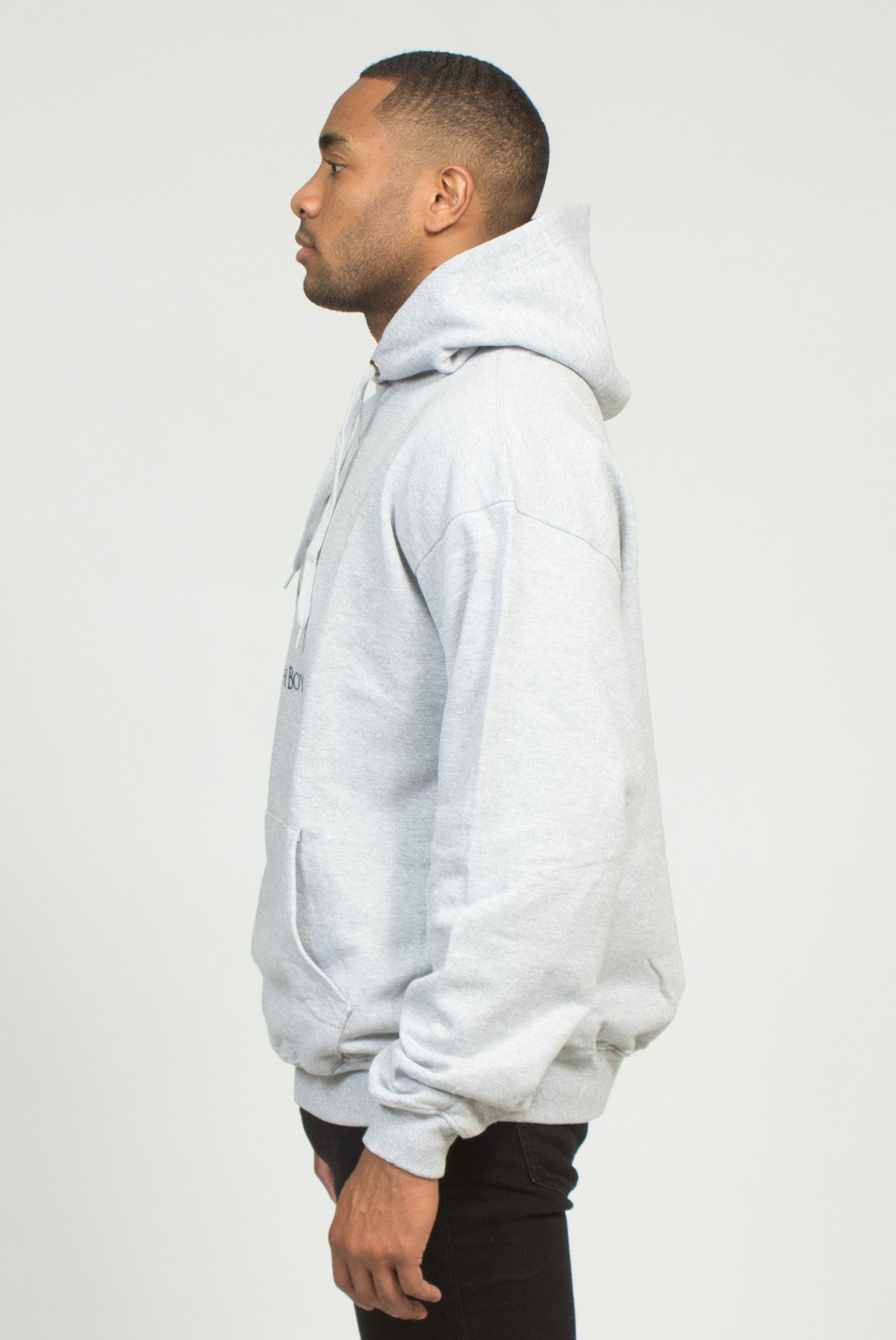 CHAMPION PLRB LOGO OVERSIZED HOODIE IN STEEL | Poor Little Rich Boy Clothing