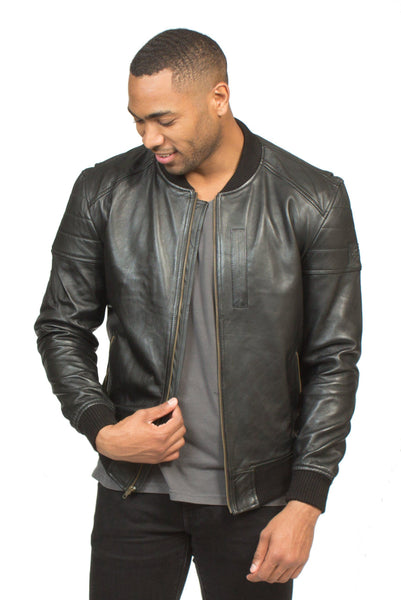 LAMBSKIN LEATHER RACER JACKET IN BLACK - Poor Little Rich Boy