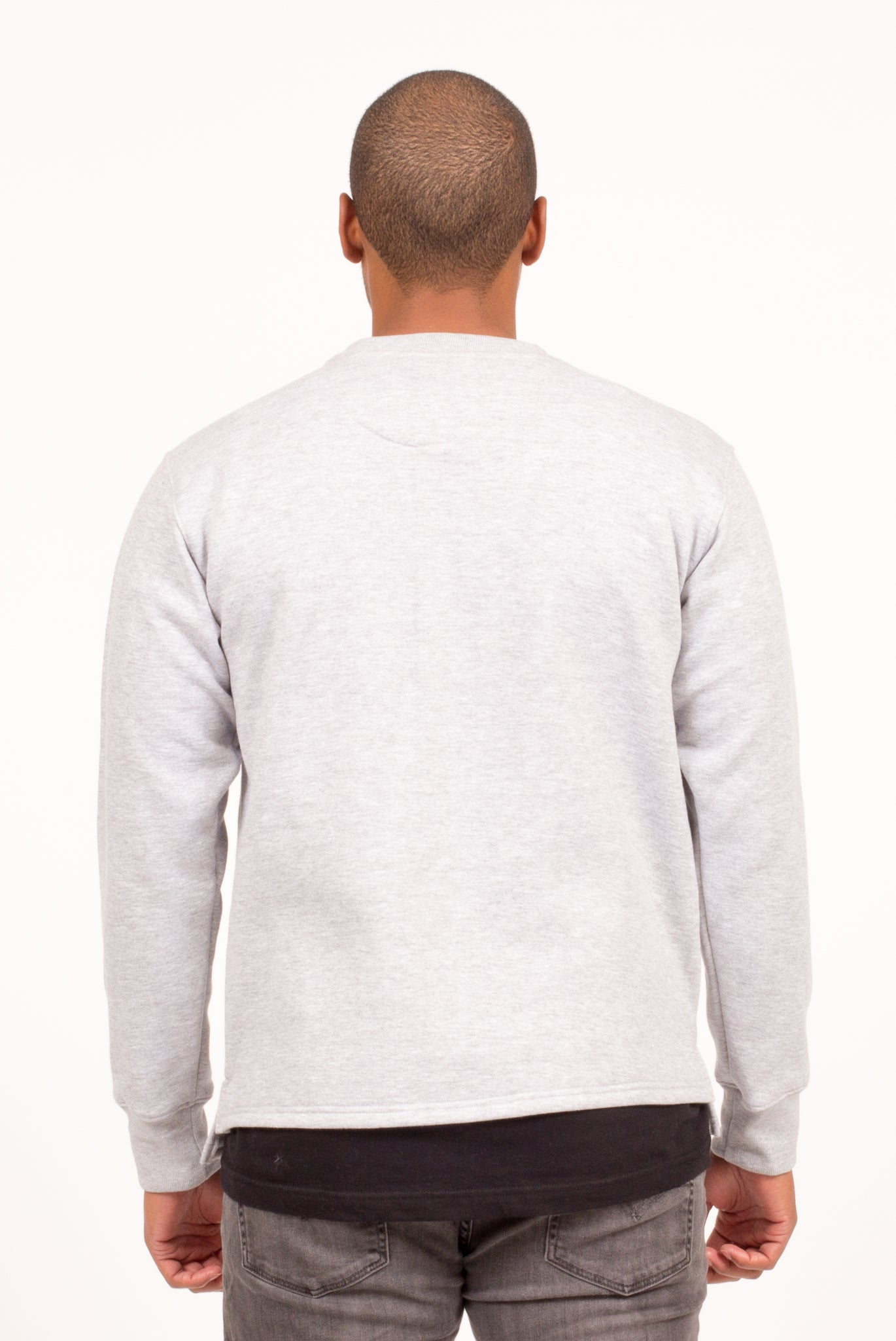 REVERSE SPLIT TAIL CREWNECK IN HEATHER GREY/ OXBLOOD/ ARMY | Poor Little Rich Boy Clothing