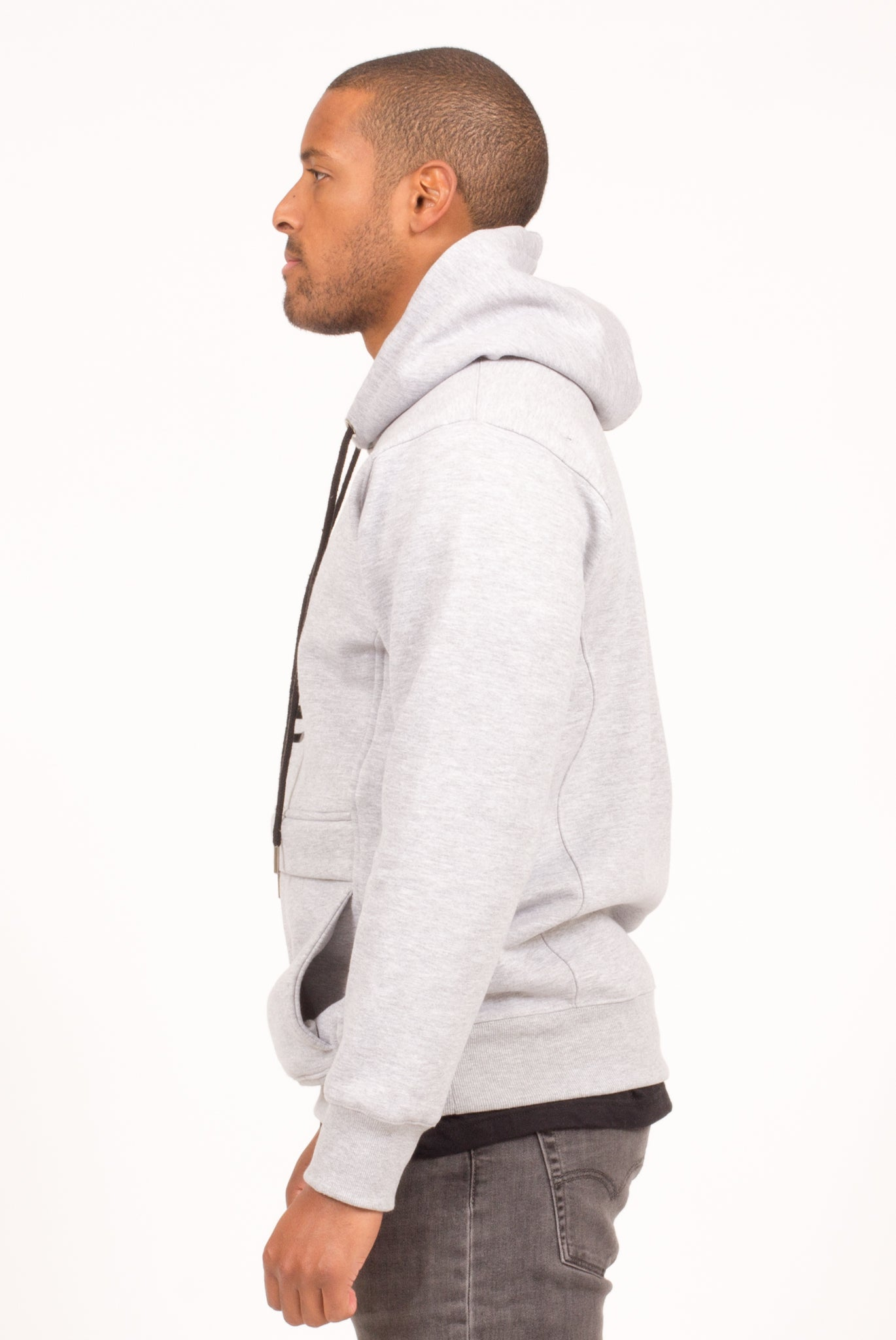 STORM FLAP HOODIE IN HEATHER GREY