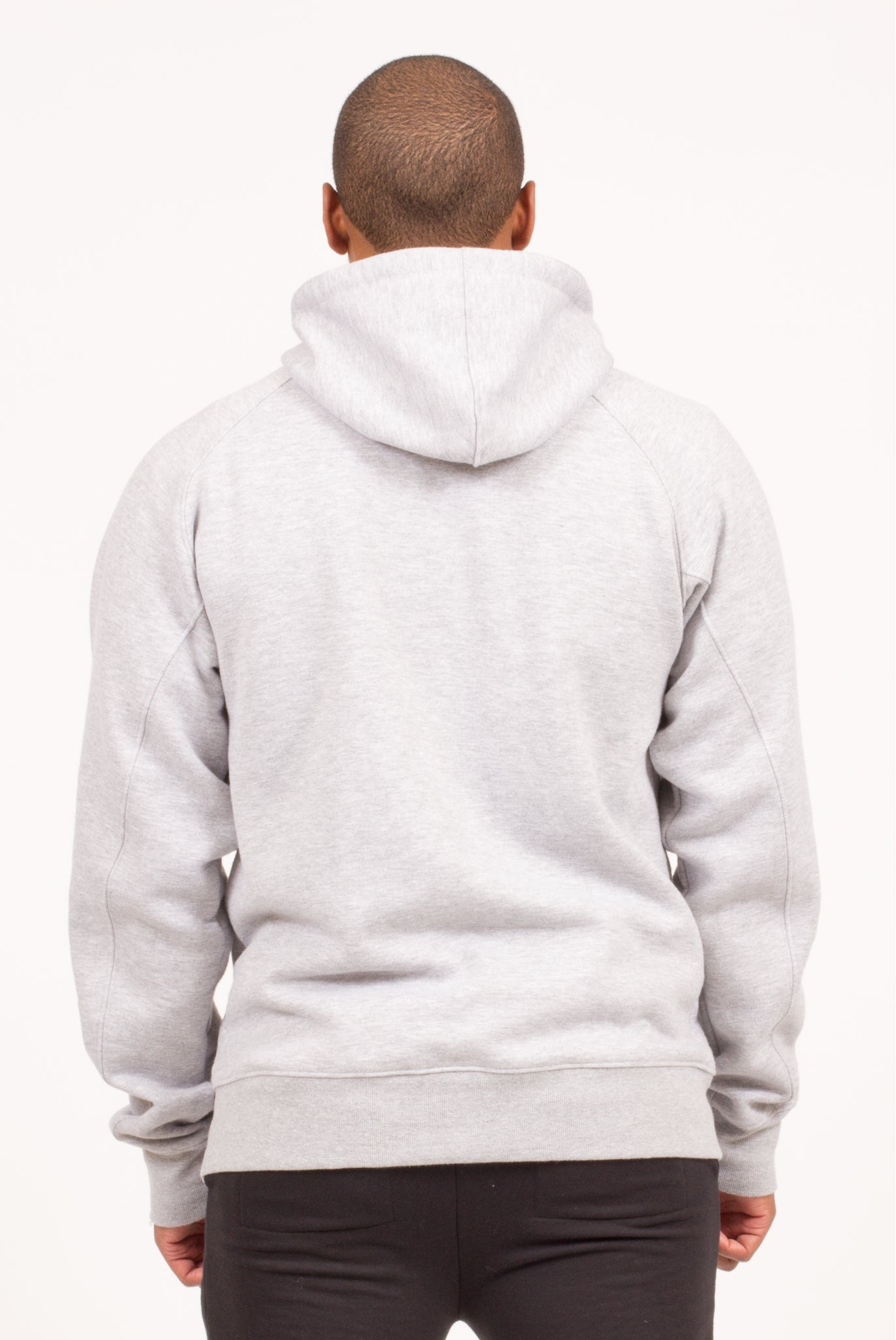 LONG NECK ZIPPERED HOODIE IN HEATHER GREY | Poor Little Rich Boy Clothing
