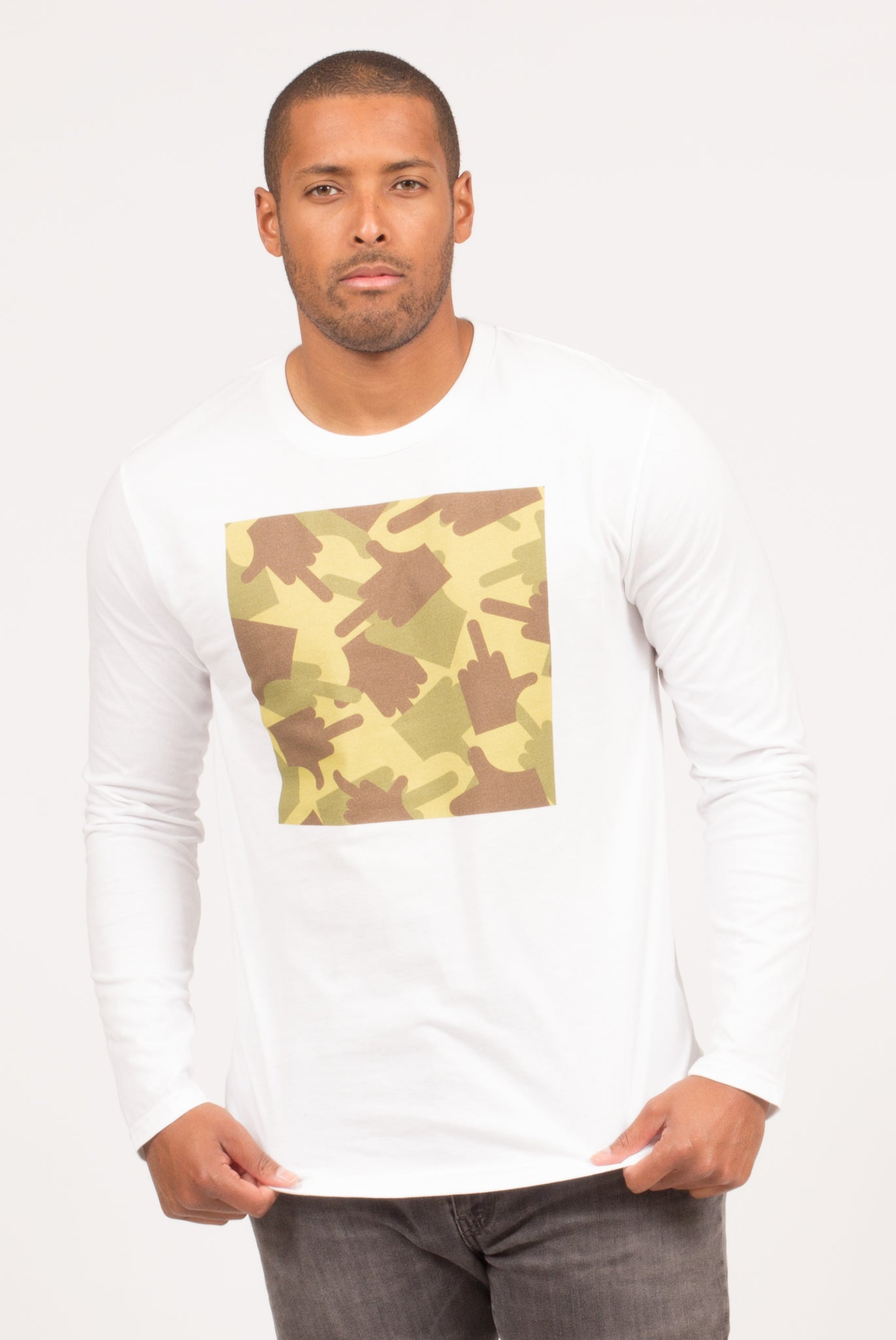 CAMOUFLAGE LONG SLEEVE T-SHIRT | Poor Little Rich Boy Clothing
