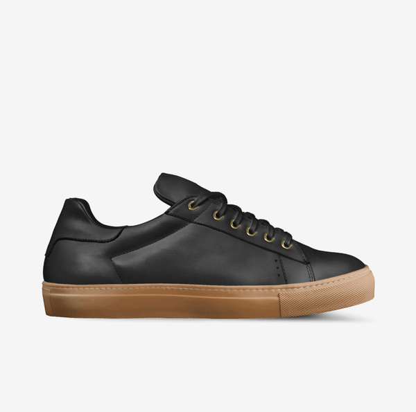 """LORENZO"" LEATHER/GUM SOLE SNEAKERS IN BLACK"