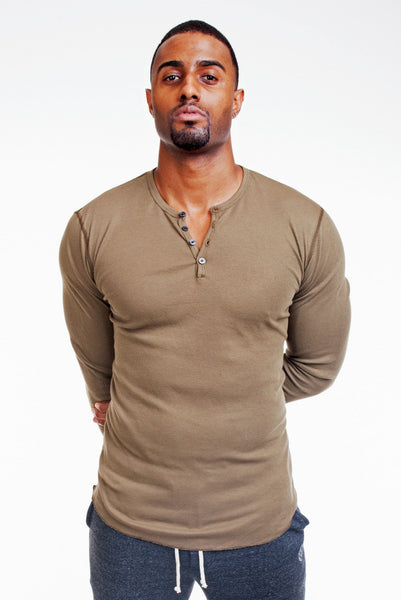 Poor Little Rich Boy Long Sleeve Army Henley - Poor Little Rich Boy Men's Casual Shirts - Plrbclothing.com