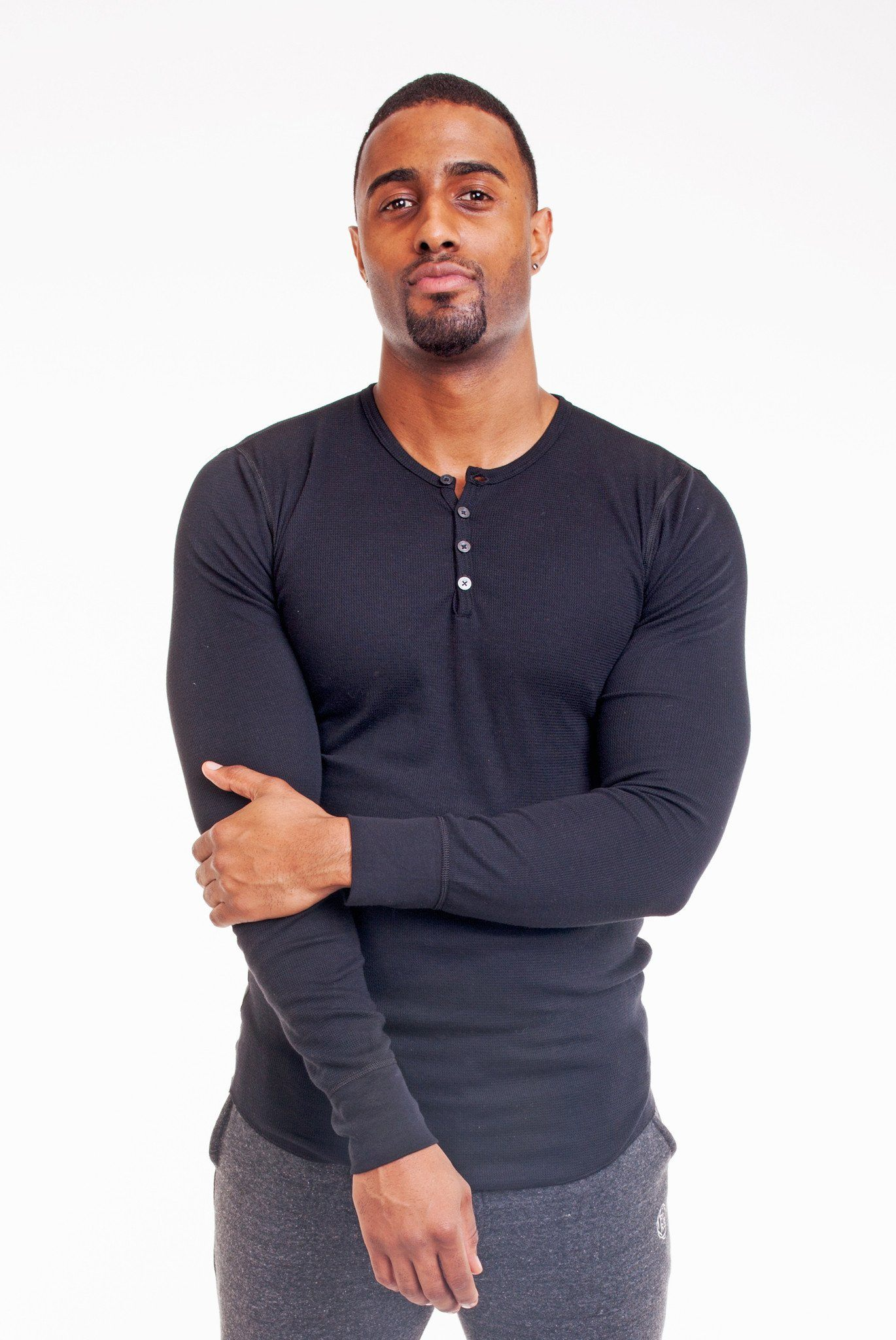 LONG SLEEVE BLACK HENLEY | Poor Little Rich Boy Clothing