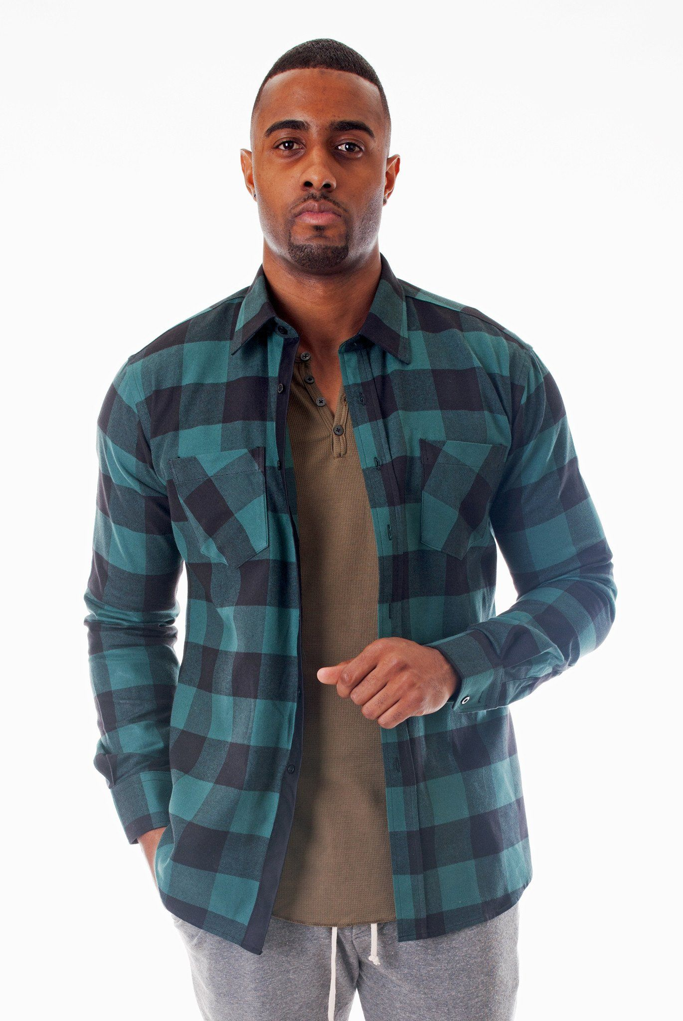 GREEN/BLACK CALIFORNIA PLAID SHIRT | Poor Little Rich Boy Clothing