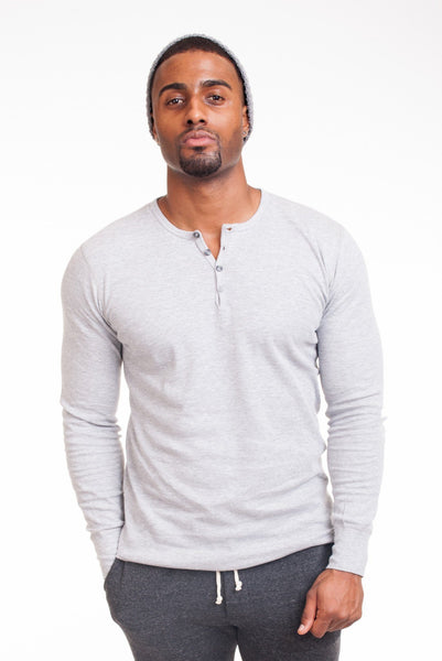 Poor Little Rich Boy Long Sleeve Heather Henley - Poor Little Rich Boy Men's Casual Shirts - Plrbclothing.com