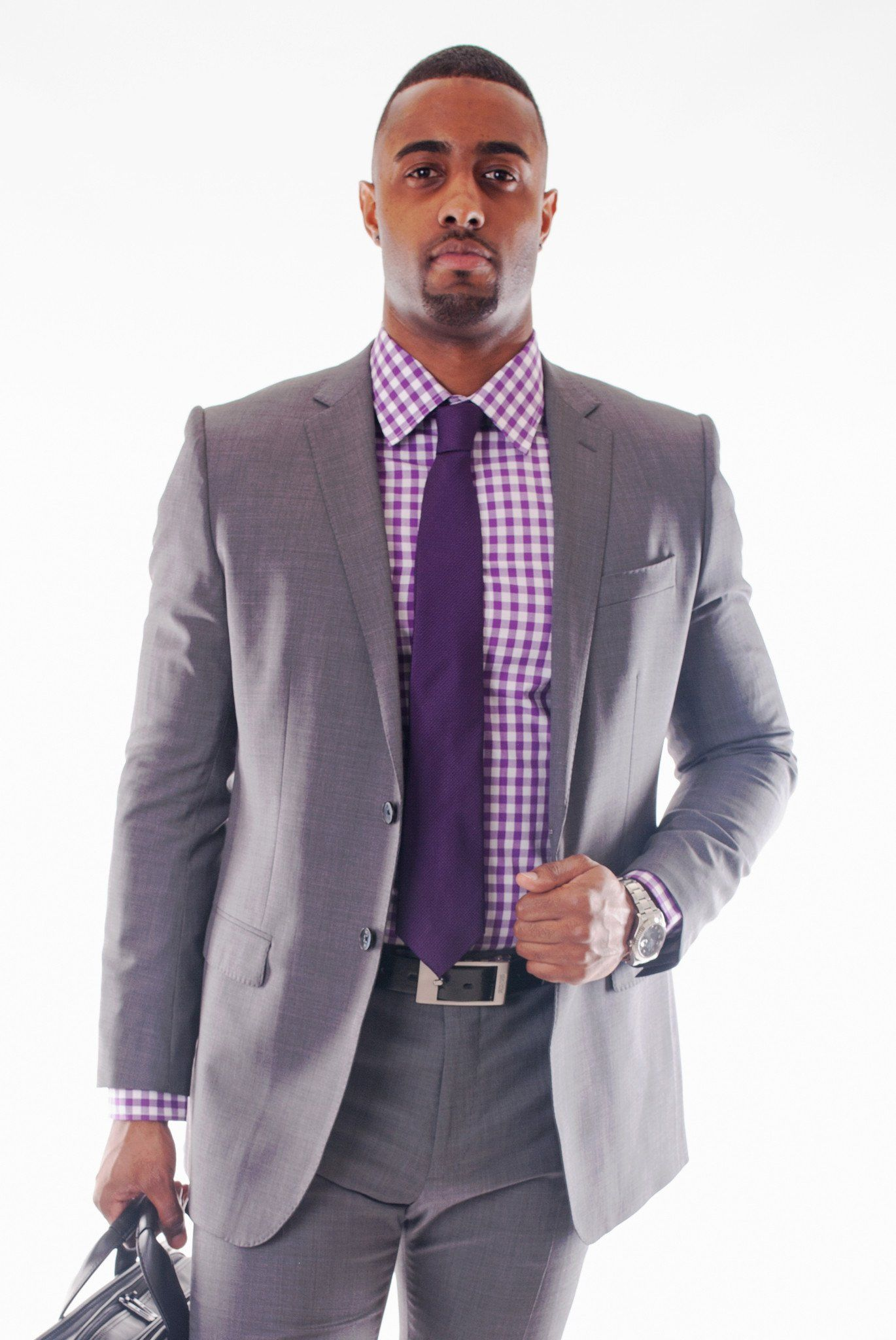 Purple and White Gingham Dress Shirt - Poor Little Rich Boy Custom Men's Dress Shirts - Plrbclothing.com