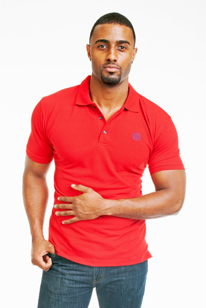 Poor Little Rich Boy Red Classic Pique Polo Shirt