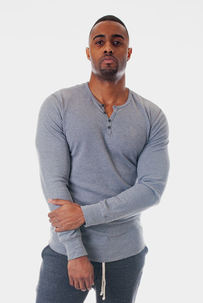 Poor Little Rich Boy Long Sleeve Steel Henley - Poor Little Rich Boy Men's Casual Shirts - Plrbclothing.com