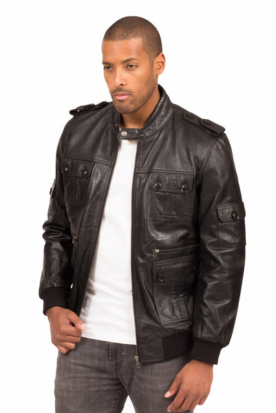 VIPER LAMBSKIN LEATHER JACKET IN BLACK | Poor Little Rich Boy Clothing