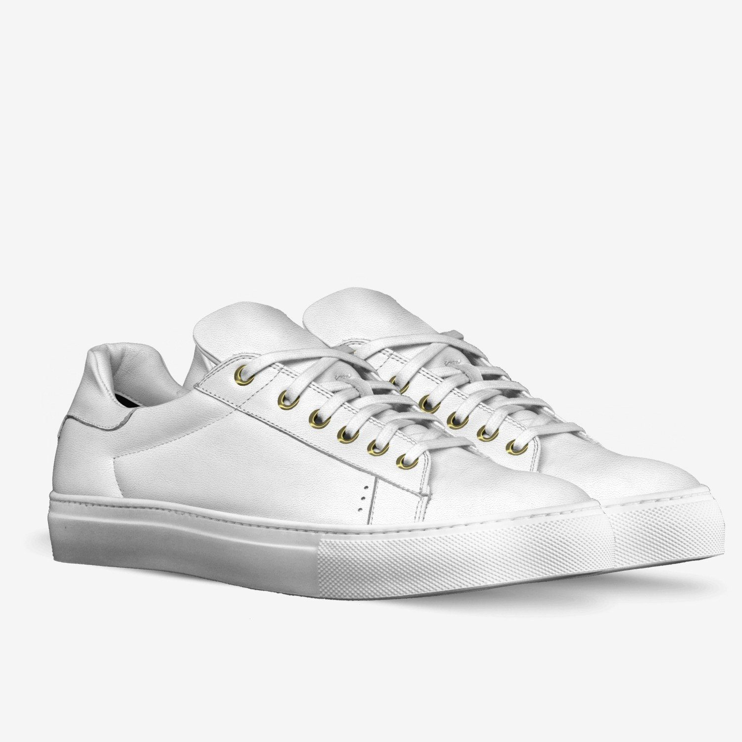"""LORENZO"" LEATHER SNEAKERS IN MILK WHITE"