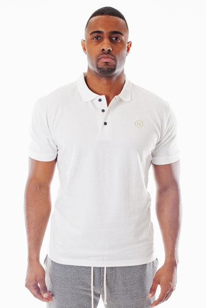 Poor Little Rich Boy White Classic Pique Polo Shirt