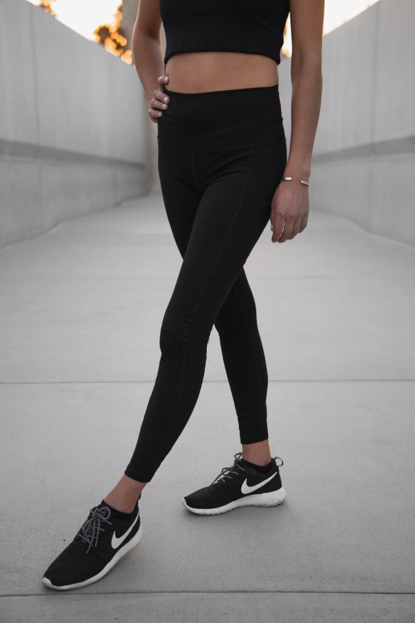 7/8 Rise Up Leggings - Ribbed Fabric, Black