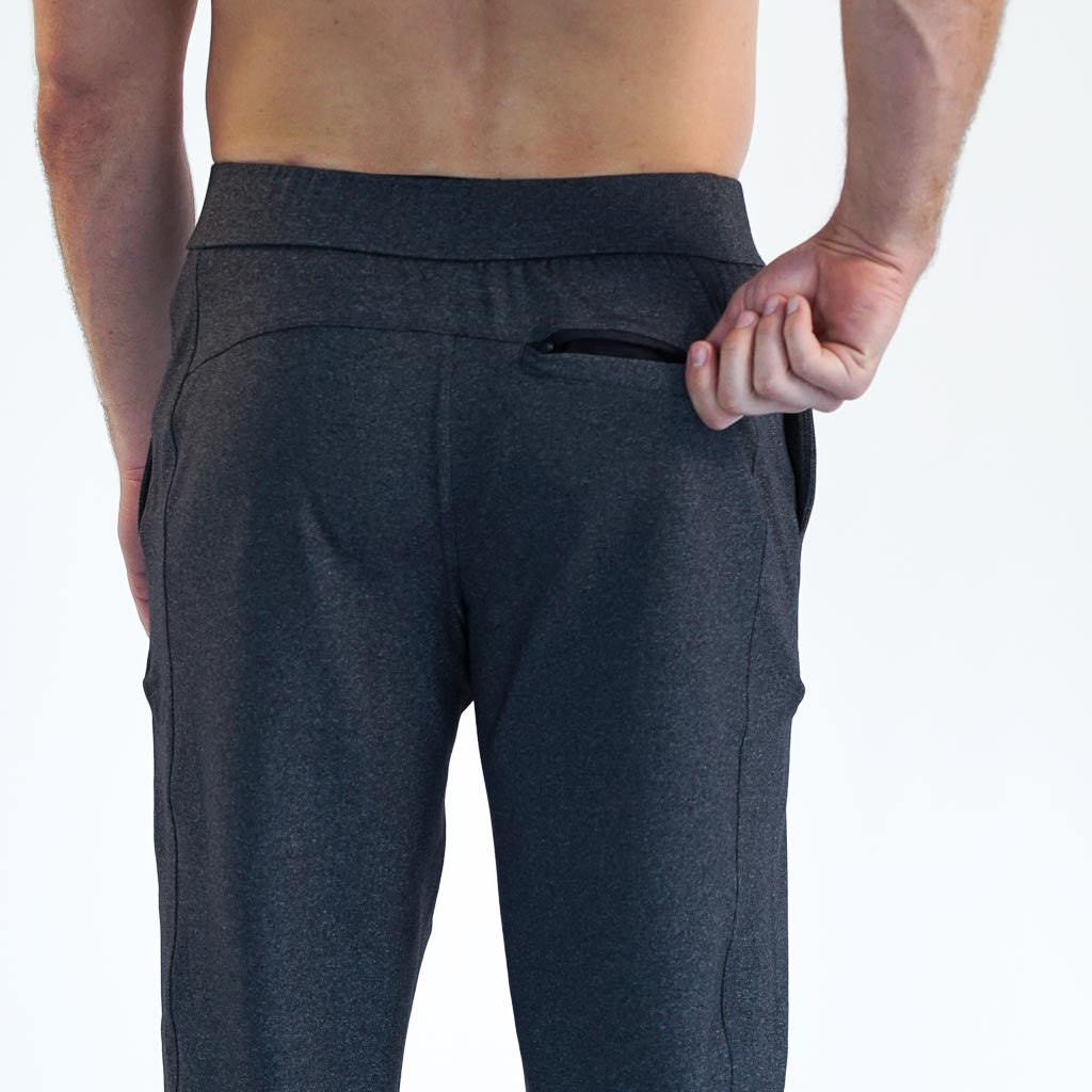 Workout pants, travel pants, athleisure pants, charcoal, yoga, cross-training, for any occasion by Four Athletics