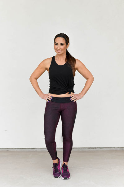 Natalie Jill Burgundy Crush Printed Legging - 7/8, High Rise, Side Pockets, Mesh