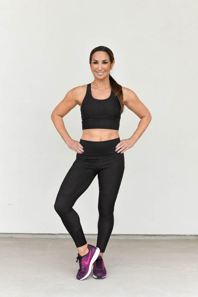 Omni Adaptable Legging Black - 7/8, High Rise, Side Pockets, Mesh