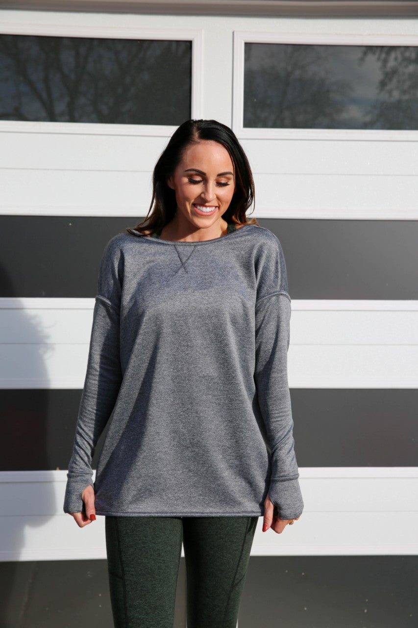 LoveMe Pullover Sweatshirt - Dark Heather Grey, Paleomg