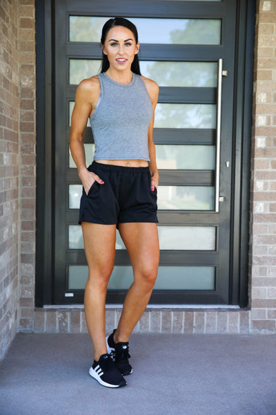 Finley Crop Tank - Heather Gray, PaleoMG