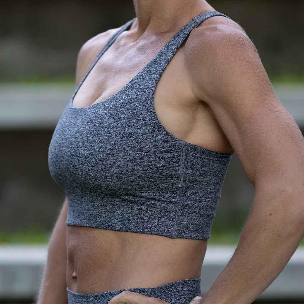 Heather Grey - Long Line Bra, Omni Cloud