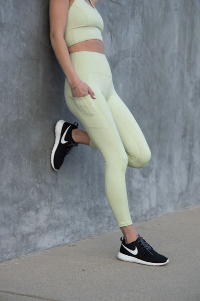 7/8 Pocket Leggings - Light Sage