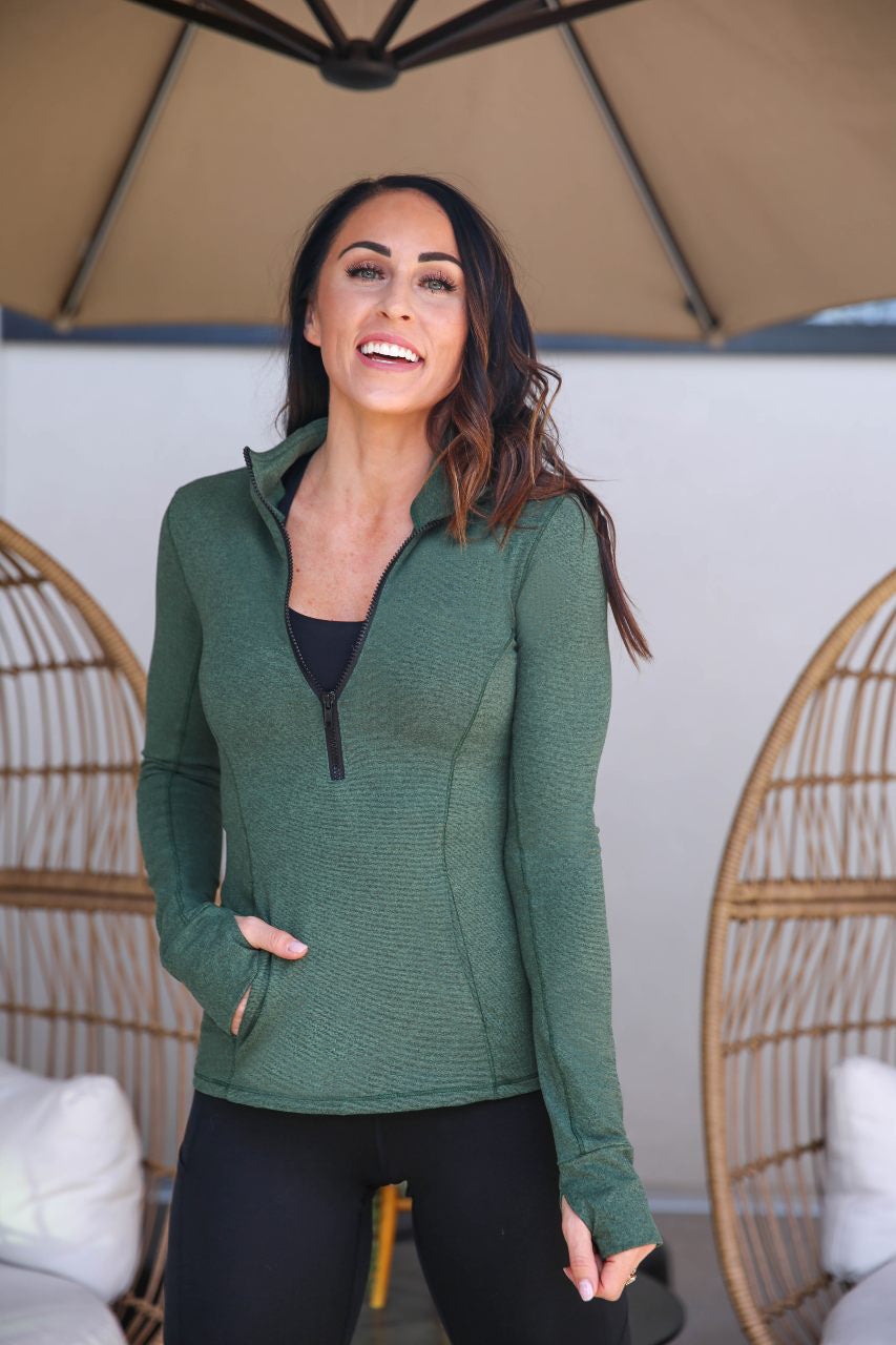 Half Zip Pull-Over - Forest Green, Paleomg