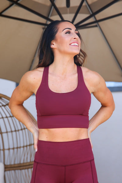 Cross Back Bra - Long Line, Merlot, PaleOMG