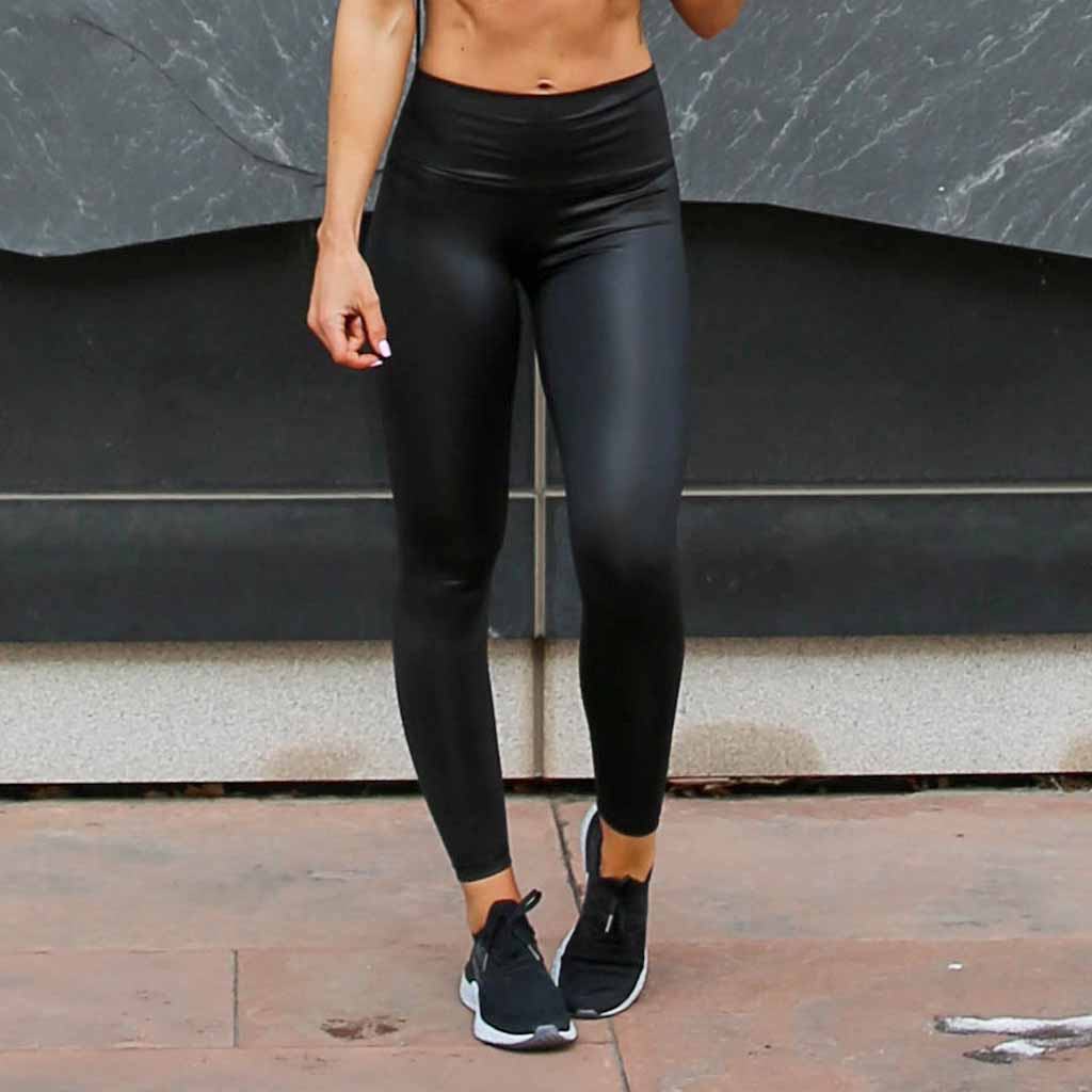 Black Real Shine 7/8 Leggings - Faux Leather - Paleomg