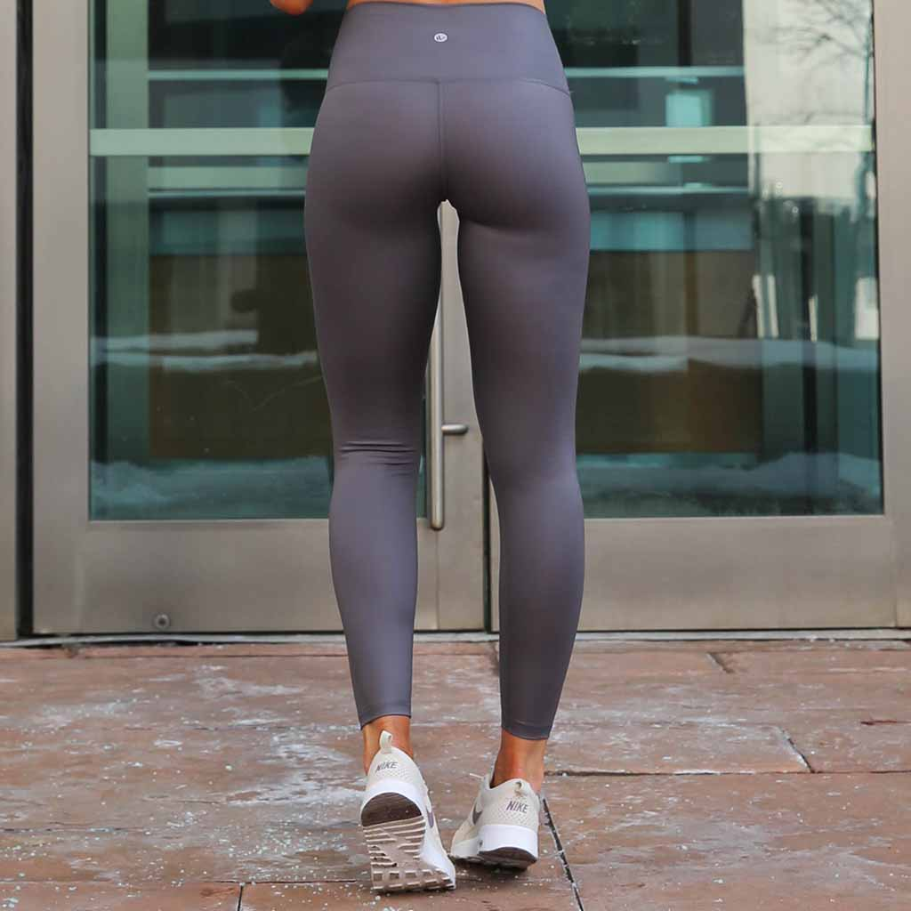 Grey Real Shine 7/8 Leggings - Faux Leather - Paleomg